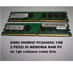 DDR2 800MHZ PC26400U 1GB 2 PEZZI DI MEMORIA RAM PC come foto