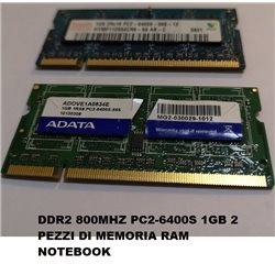 DDR2 800MHZ PC2-6400S 1GB 2 PEZZI DI MEMORIA RAM NOTEBOOK