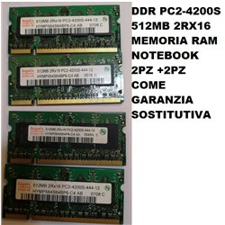 DDR PC2-4200S 512MB 2RX16 MEMORIA RAM NOTEBOOK HNNIX 2PZ +2PZ SOSTITUTIVI