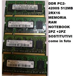 DDR PC2-4200S 512MB 2RX16 MEMORIA RAM NOTEBOOK 2PZ +2PZ SOSTITUTIVI