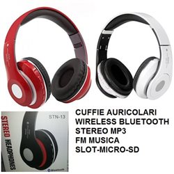 CUFFIE AURICOLARI WIRELESS BLUETOOTH STEREO MP3 FM MUSICA-SLOT-MICRO-SD
