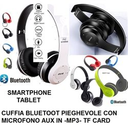 CUFFIE BLUETOOT PIEGHEVOLE CON MICROFONO AUX IN -MP3- TF CARD