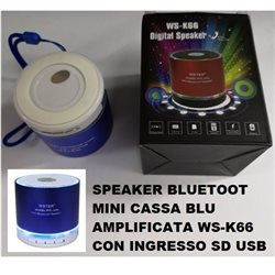 SPEAKER BLUETOOT MINI CASSA BLU AMPLIFICATA WS-K66 CON INGRESSO SD USB