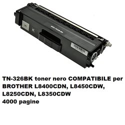 TN-326BK toner nero COMPATIBILE per BROTHER L8400CDN, L8450CDW, L8250CDN, L8350CDW 4000 pag.
