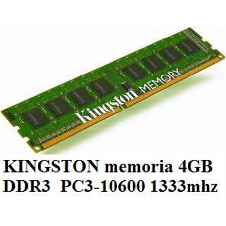KINGSTON memoria 4GB DDR3 PC3-10600 1333mhz