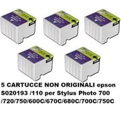 5 CARTUCCE NON ORIGINALI epson S020193 /110 per Stylus Photo 700 /720/750/600C/670C/680C/700C/750C