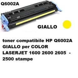 toner compatibile HP Q6002A GIALLO per COLOR LASERJET 1600 2600 2605 - 2500 stampe