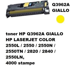 toner HP Q3962A GIALLO HP LASERJET COLOR 2550L / 2550 / 2550N / 2550TN / 2820 / 2840 / 2550LN, 4000 stampe