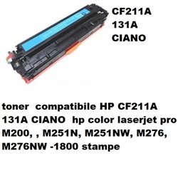 toner compatibile HP CF211A 131A CIANO hp color laserjet pro M200, , M251N, M251NW, M276, M276NW -1800 stampe