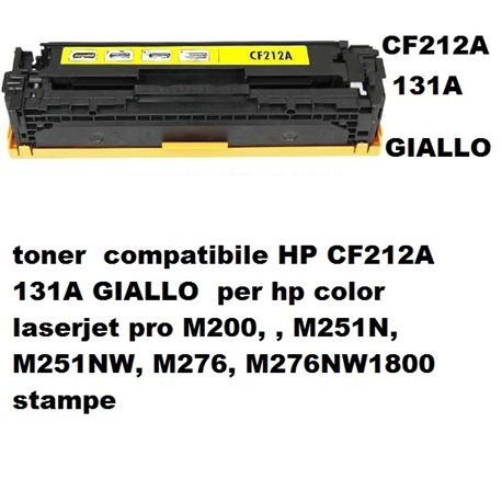 toner compatibile HP CF212A 131A GIALLO per hp color laserjet pro M200, , M251N, M251NW, M276, M276NW1800 stampe