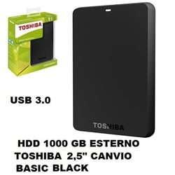 "TOSHIBA HARD DISK 1000 GB ESTERNO USB 3.0 2,5"" CANVIO BASIC BLACK"