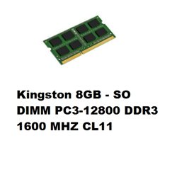 Kingston 8GB - SO DIMM PC3-12800 DDR3 1600 MHZ CL11