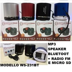 MP3 speaker bluetoot CON RADIO FM -SLOT USB -MICRO SD- vivavoce WS-231BT