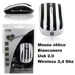 Mouse ottico Bianconero Usb 2.0 Wireless 2,4 Ghz