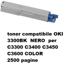 toner compatibile OKI 3300BK XXL NERO per C3300 C3400 C3450 C3600 COLOR 2000 pagine