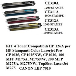 KIT 4 toner CF380X CF381A CF382A CF383A ( HP 312 ) per laserjet pro M476DN M476DW M476NW