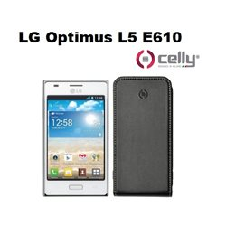 CELLY custodia per LG Optimus L5 E610 in ecopelle nera con scocca rigida
