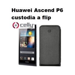 CELLY custodia a flip Huawei Ascend P6 custodia colore nero.