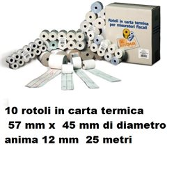 10 rotoli in carta termica 57 mm x 45 mm di diametro anima 12 mm 25 metri