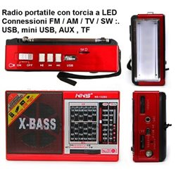 Radio portatile con torcia a LED Connessioni FM / AM / TV / SW :. USB, mini USB, AUX , TF