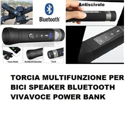 TORCIA MULTIFUNZIONE PER BICI SPEAKER BLUETOOTH VIVAVOCE POWER BANK