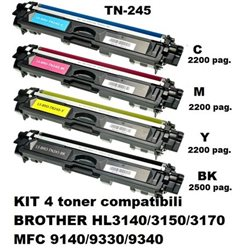 KIT 4 toner compatibili BROTHER TN-245 HL3140/3150/3170 MFC 9140/9330/9340