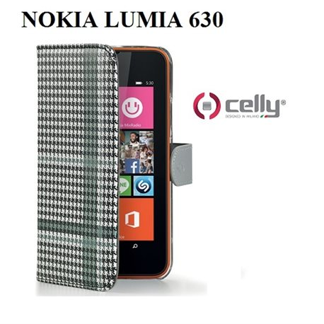 CELLY Custodia Nokia Lumia 630 PIED DE POULE WALLY BK