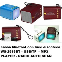 cassa bluetoot con luce discoteca WS-2516BT - USB/TF - MP3 PLAYER - RADIO AUTO SCAN