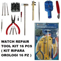 WATCH REPAIR TOOL KIT 16 PCS ( KIT RIPARA OROLOGI 16 PZ)
