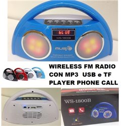 WIRELESS FM RADIO CON MP3 USB e TF PLAYER PHONE CALL PORTATILE WS-1800B