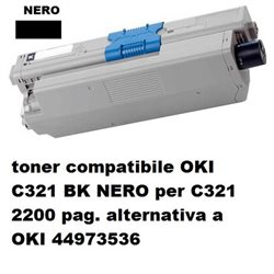 toner compatibile OKI C321 BK NERO per C321 2200 pag. alternativa a OKI 44973536