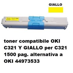toner compatibile OKI C321 Y GIALLO per C321 1500 pag. alternativa a OKI 44973533