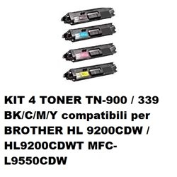 KIT 4 TONER TN-900 / 339 BK/C/M/Y compatibili per BROTHER HL 9200CDW / HL9200CDWT MFC-L9550CDW