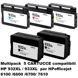 Multipack 5 cartucce compatibili HP 932XL / 933XL per HPofficejet 6100 /6600 /6700/ 7610