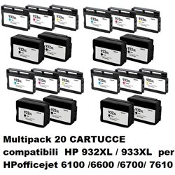 Multipack 20 cartucce compatibili HP 932XL / 933XL per HPofficejet 6100 /6600 /6700/ 7610