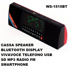 CASSA SPEAKER BLUETOOTH DISPLAY VIVAVOCE TELEFONO USB SD MP3 RADIO FM SMARTPHONE