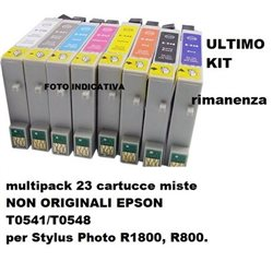 multipack 23 cartucce miste NON ORIGINALI EPSON T0541/T0548 per Stylus Photo R1800, R800.