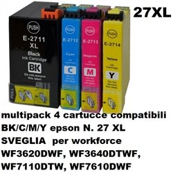 multipack 4 cartucce NON ORIGINALI EPSON N. 27 XL SVEGLIA per workforce WF3620DWF, WF3640DTWF, WF7110DTW