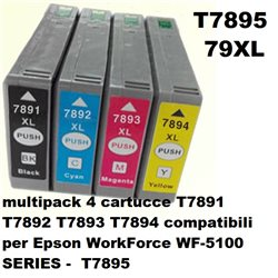 multipack 4 cartucce NON ORIGINALI EPSON T7891 T7892 T7893 T7894 per WorkForce WF-5100 SERIES - T7895