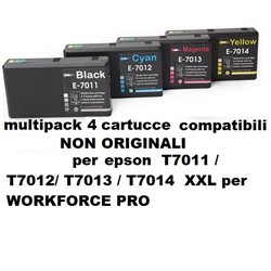 multipack 4 cartucce NON ORIGINALI EPSON T7011 / T7012/ T7013 / T7014 XXL per WORKFORCE PRO