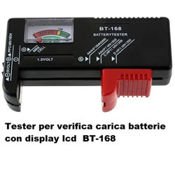 Tester per verifica carica batterie con display lcd BT-168