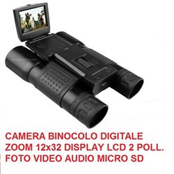 CAMERA BINOCOLO DIGITALE ZOOM 12x32 DISPLAY LCD 2 POLL. FOTO VIDEO AUDIO MICRO SD