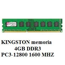 KINGSTON memoria 4GB DDR3 PC3-12800 1600 MHZ