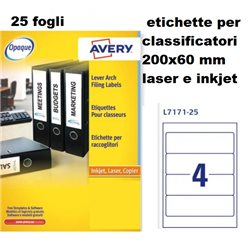 L7171-25 etichette per classificatori 200x60 25ff laser e inkjet