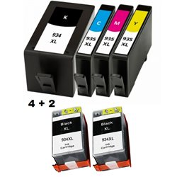 multipack 6 cartucce compatibili HP 934XL / 935XL per HP Officejet Pro 6830 ,, Officejet Pro 6230