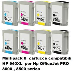 Multipack 8 cartucce compatibili HP 940XL per Hp OfficeJet PRO 8000 , 8500 series