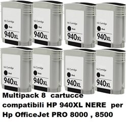 Multipack 8 cartucce compatibili HP 940XL NERE per Hp OfficeJet PRO 8000 , 8500 series