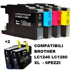 Multipack 6 cartucce compatibili BROTHER LC1240 LC1280 XL per MFC-J5910DW,J6510DW, J6710DW, J6910DW