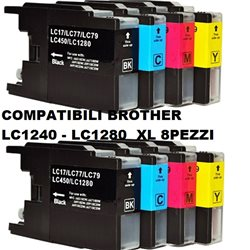 Multipack 8 cartucce compatibili BROTHER LC1240 LC1280 XL per MFC-J5910DW,J6510DW, J6710DW, J6910DW