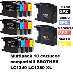 Multipack 14 cartucce compatibili BROTHER LC1240 LC1280 XL per MFC-J5910DW,J6510DW, J6710DW, J6910DW